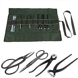 Bonsai Werkzeugset 4 Stücke Gartenwerkzeug Gartenschere mit Schleifstein Gerollte Tasche