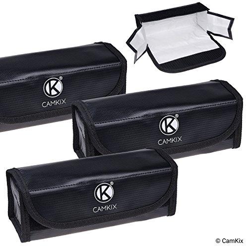 CAMKIX Borsa Batterie LiPo Grande Resistente al Fuoco - Confezione da 3 - Borsa per Conservazione e Sicurezza - per Trasporto e Ricarica Sicura - Soluzione Ideale Bagaglio a Mano Aeroplano