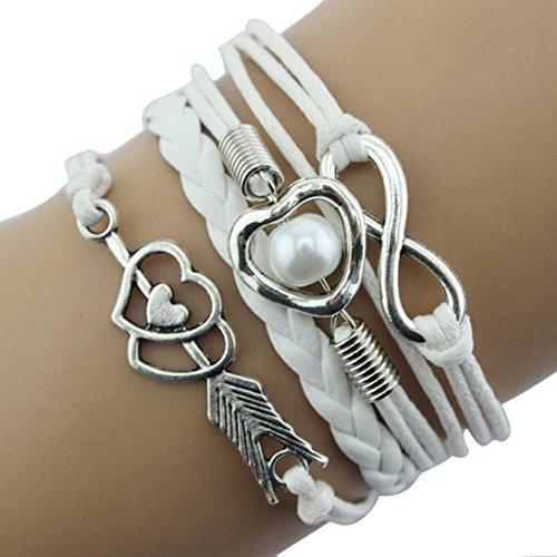 Voberry® 1 PC Bracelet à Breloques Infini Amour Perle Coeur Amitié Cuir Antique / Blanc