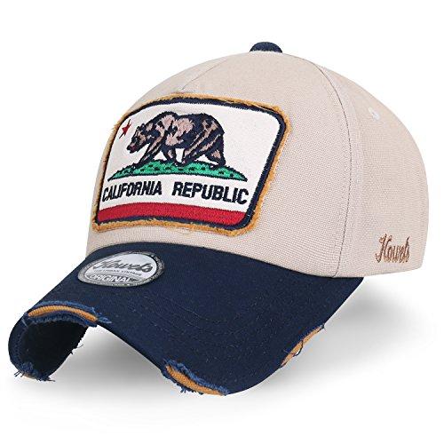 ililily Illustration Flicken abgenutztes Aussehen Baumwolle Baseball Cap klassischer Stil Trucker Cap Hut, Beige
