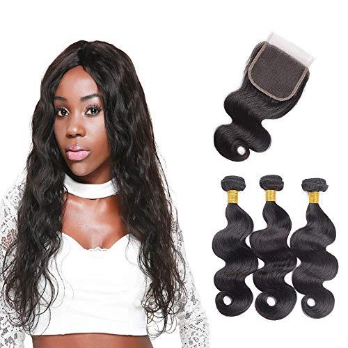 Ciocche di capelli brasiliani con chiusura di capelli umani intrecciati 8 10 12+8 pollici ciocche di capelli umani con chiusura brasiliana wave bundles con una chiusura