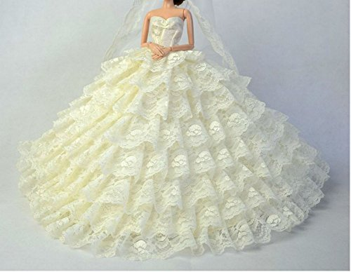 Kostüm Barbie Puppe Vintage (BU-02 Schöne und modische handgefertigte elegante schöne Hochzeit Abend-Partei-Kleid für Barbie Puppe(Puppen nicht im Lieferumfang enthalten) ()
