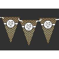 Nero e Oro modello personalizzato Retirement party Bunting–banner decorazione, (Bunting Modello)