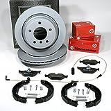 Zimmermann Bremsscheiben belüftet Coat Z/Bremsen + Bremsbeläge + Warnkabel + Handbremsbacken + Zubehör für hinten/die Hinterachse