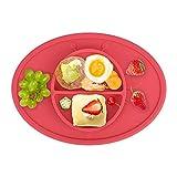 Baby Platzmatte Tischset Kinder Silikon Rutschfest Teller Tischunterlage(Rote)