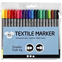 Pack of 20 Fabric and Craft Paint Pens Fabric Pens Textile Marker T-Shirt Marker Dual Tip