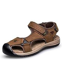 ailishabroy Sandalias de Cuero Genuino Para Hombre Que Caminan Que Caminan Los Zapatos de Velcro de La Playa del...
