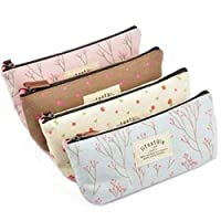 LAAT 4pcs Canvas Pen Bag Makeup Tool Storage Pouch Cosmetic Sacks Portable Pencil Holders Pencil Case Flower Printed Gift Box Small Handbag