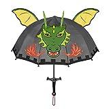 Kidorable Original Gebrandmarkt Kinder Regenschirm Drachan Knecht für Jungen, Grau, Ein Größe