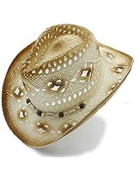 Sombrero De Vaquero Mujeres Hombres Hombres Straw Hollow Ocasional Sombrero  De Vaquero Occidental Summer Cowgirl Jazz Cap Daddy… 4cacd2b556c