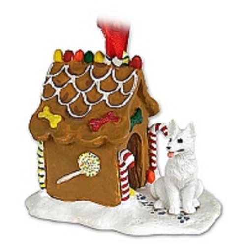 German Shepherd White Ginger Bread House Ornament -