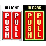 #4: Clickforsign GID-PP(10) Glow in Dark Push Pull Sign Sticker, Set of 10