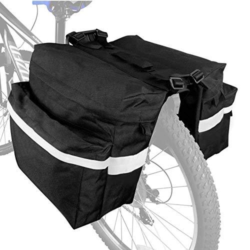 Kingko Gepäckträgertasche Fahrradtasche Satteltasche 3 in 1 Multifunction Reißfest Schockresistent Fahrradträger wasserdichte Fahrrad-Hecktasche Packtasche mit Regenhülle (Schwarz)