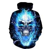 TUWEN Das Sweatshirt Der MäNner Blaue Thunderbolt SchäDel Kopf 3D Gedruckte Herrenbekleidung