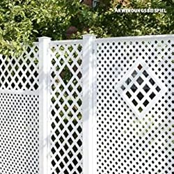 Videx-Sichtschutzwand Kunststoff, Coventry-Classic, 125 x 185cm, weiß