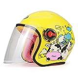 XBTECH Casco da Moto per Bambini Casco Invernale per La Sicurezza dei Motociclisti ATV Quad Dirt Bike Casco da Bambino Cartoon Four Seasons,Yellow