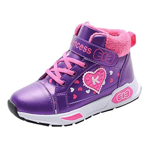 HDUFGJ Winter Kinder Fügen Sie Baumwolle hinzu Freizeitschuhe Mädchen Flache Schuhe Sportschuhe Kinderschuhe Freizeitschuhe Turnschuhe35 EU(Lila)