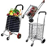 Swastik Luggage Rolling 4 Wheels Trolley Cart Aluminum Folding/Shopping Cart Trolley with Wheel