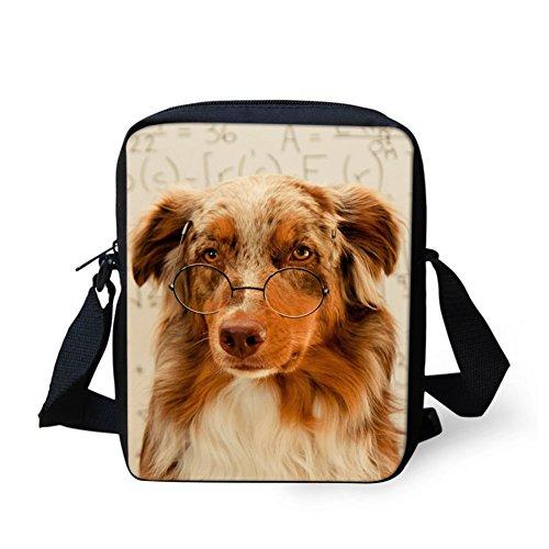 CHAQLIN Borsa Messenger, black pug (bianco) - CHAQLIN lovely dog
