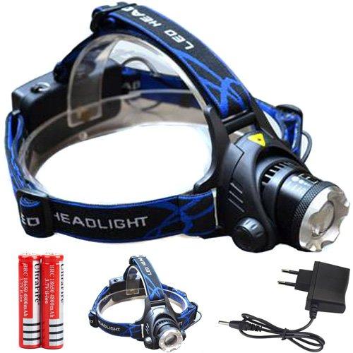 Semoss Superheller CREE XML T6 LED Stirnlampe,LED Kopflampe,LED Stirnlampen,LED Kopflampen,Kopfleuchten mit 2 * 18650 Batterien und Ladegerät,Perfekt für Joggen, Gehen,Campen,Lesen,Wandern, für Kinder,Heimwerken und mehr