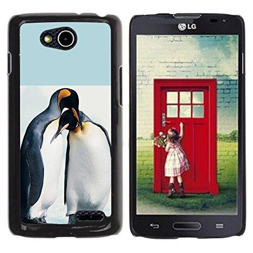 DREAMCASE Hart Handy SchutzHülle Hülle Schale Case Cover Etui für LG OPTIMUS L90 D415 - Cute Penguin Friends