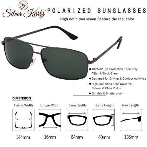 Silver Kartz Polarised Double Bar Classic elite Aviator Sunglasses (wy229)