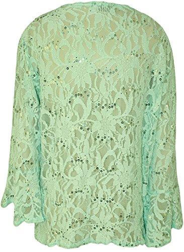 WearAll - Cardigan court pailleté en dentelle avec un noeud et les manches mi-longues et évasées - Cardigans - Femmes - Grandes tailles 40 à 54 Vert Menthe