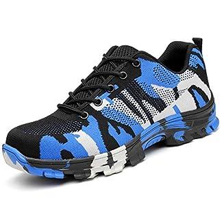 Zapatos Trabajo Hombre Zapatillas de Seguridad Puntera de Acero Mujer Botas Proteccion Excursionismo Caminar Sneakers Antideslizante Plataforma Camuflaje de Negro Azul Verde 38-46