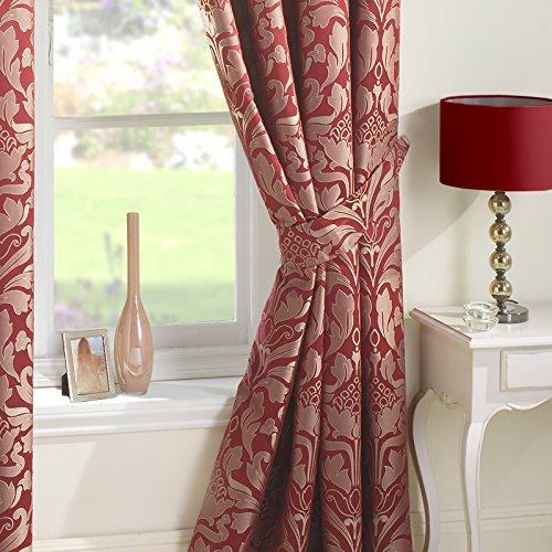 Just Contempo Luxury Curtain 9924, Cortinas (damasco, con ojales), Rojo, 66.04 cm (Pair of Curtain Tie Backs)