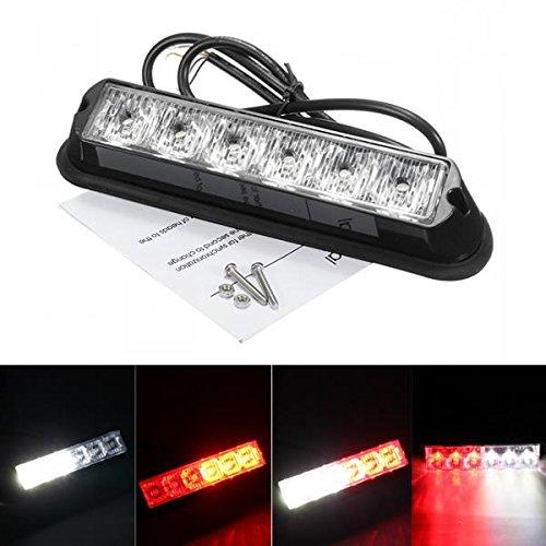ILS - 12V Red &White 6LED Emergency Warning Strobe Flashing Light Bar For Car SUV
