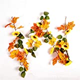 LYFWL Weihnachtsschmuck Sunflower Maple Leaf Bar Rattan Mall Hotel Ktv Hause Kamin Dekoration Grün Rattan 1,8M Hochzeit Kranz Hängen