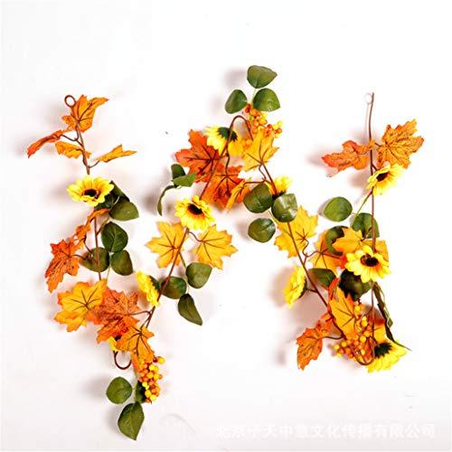 fake kamin deko LYFWL Weihnachtsschmuck Sunflower Maple Leaf Bar Rattan Mall Hotel Ktv Hause Kamin Dekoration Grün Rattan 1,8M Hochzeit Kranz Hängen