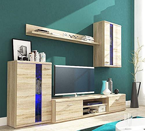 Life moderno set di mobili soggiorno mobile tv in rovere sonoma