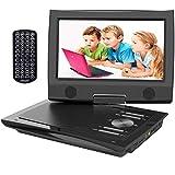 ieGeek Reproductor DVD Portátil Coche Niños con Pantalla HD 9.5' TFT LCD, Multi Region Gratis, Batería Recargable 5H, Jack de Auriculares Dual, Puerto AV / SD / USB (Negro)