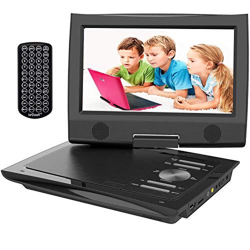 ieGeek Portable Car DVD Player Children with HD Screen 9.5 'TFT LCD, Multi Region Free, 5H Rechargeable Battery, Dual Headphone Jack, AV / SD / USB Port (Black)