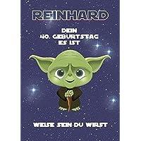 Geburtstagskarte für Mann oder Frau als Geschenk in DinA4 - Motiv: Star Wars (hier 40) | Personalisierte Geschenke zum Geburtstag für Männer (Bspw. Jahrgang 1969: 50 Jahre, 1959: 60 Jahre.)