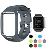 TUSITA WristBand for TomTom Runner 2 3/Spark/Spark 3/Golfer 2/Adventurer, Replacement Silicone Band Strap Accessory (Grey)