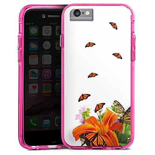 Apple iPhone 7 Plus Bumper Hülle Bumper Case Glitzer Hülle Schmetterlinge Blume Flower Bumper Case transparent pink