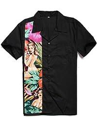 9519a692833 Candow Look Chemise Homme Floral Nude Print Vintage Retro Plus Size Men Tops