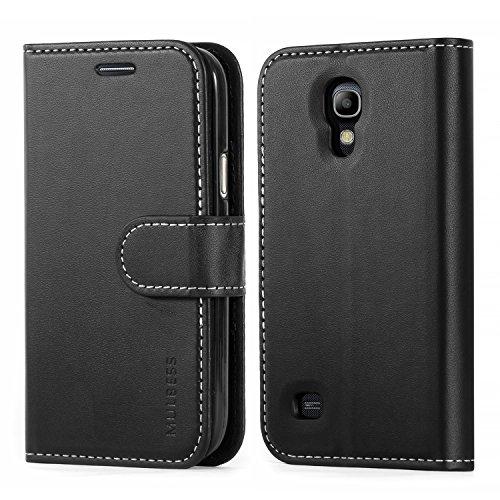 Mulbess Business Style Ledertasche im Ständer Book Case / Kartenfach für Samsung Galaxy S4 mini Tasche Hülle Leder Etui,Schwarz