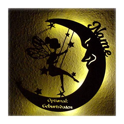 """Schlummerlicht Leuchtsterne Nachtlicht Led Lampe personalisiert""""Schaukel Fee auf Mond"""" Geschenke zur Geburt Geschenk mit Name Geburtsdaten persönlich Mädchen"""