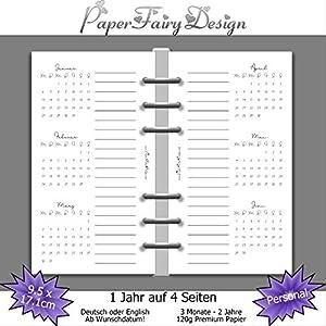 Kalendereinlagen 2020 - Personal (9,5cm x 17,1cm) - 1 Jahr auf 4 Seiten - 120g Premium Papier
