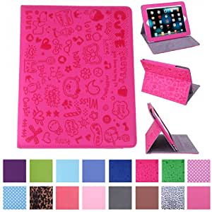 HDE iPad 1 Case - Slim Fit Cute Kid's Leather Cover Stand Folio with Magnetic Closure for Apple iPad 1 1st Generation (Cartoon Hot Pink)