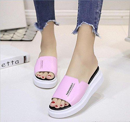Eine Schrift weibliche Hausschuhe dicke Kruste Muffin Sandalen und Pantoffeln Gezeiten feste Wild Pink