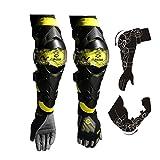 TRANNOH Protezioni per gomiti per motocicli Protezioni per ginocchiere per ginocchiere Protezioni per fuoristrada per moto da cross Motocross Downhill Dirt Bike E09-Yellow Free size