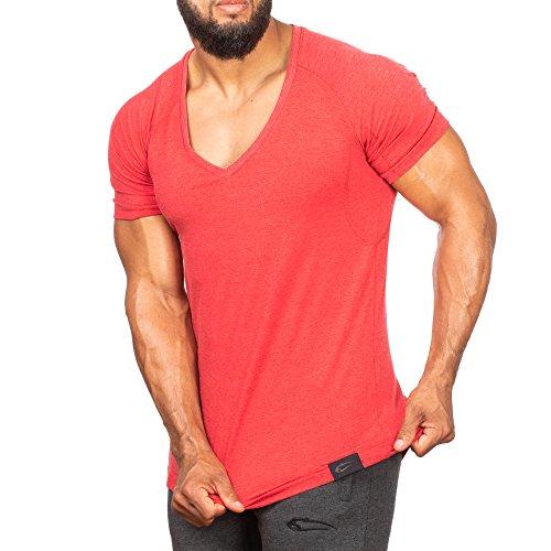 SMILODOX T-Shirt Herren mit V-Ausschnitt   Basic V-Neck für Sport Fitness Gym & Freizeit   Regular T-Shirt Kurzarm - Schlichtes Design - Leichtes Casual Shirt, Farbe:Rot, Größe:M - Casual V-neck T-shirt