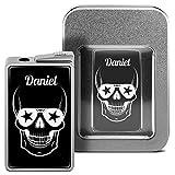 Feuerzeug mit Namen Daniel - personalisiertes Gasfeuerzeug mit Design Totenkopf - inkl. Metall-Geschenk-Box