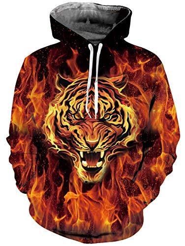 Goodstoworld Lustige Pullover 3D Feuer Tiger Print Hoodie Kapuzenpullover Sport Langarm Sweatshirt Kapuze Gedruckte Jersey mit Tasche