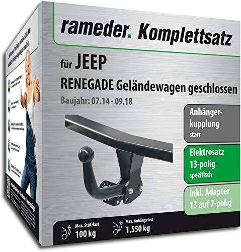 Rameder Komplettsatz, Anhängerkupplung starr + 13pol Elektrik für Jeep Renegade Geländewagen geschlossen (137648-13019-1)