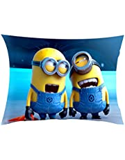 Pix Art Laughing Minion Polycotton Cushion with Filler - 16.38 inches x 16.38 inches x 2.34 inches, Blue